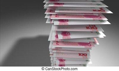 Stack of 100 Chinese Yuan bills.