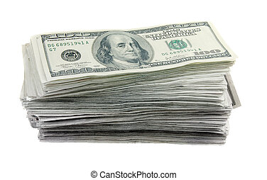 Tall stack of 100 dollar bills on a white background. US currency.