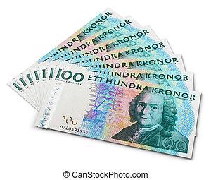 Stack of 100 swedish krona banknotes isolated on white...