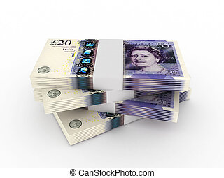 Stack of 20 pound sterling bills isolated on white background. High quality 3d render.