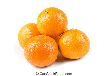 Stack of 5 navel oranges isolated on white background
