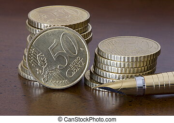 Stack of 50 cents euro coins and p