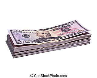 Stack of 50 Dollar Bank Notes Isolated