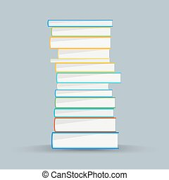 Stack of academic books. Academic books vector concept. Colored books in flat style
