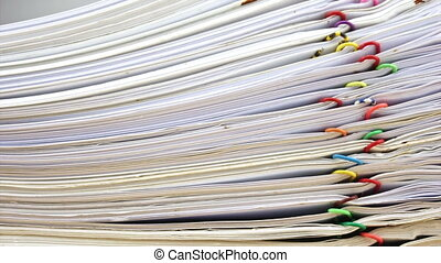 Stack of account include sales and receipt place on wood...
