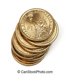 Stack of American One Dollar Coins