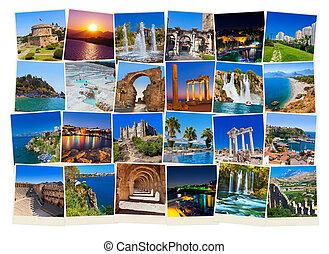 Stack of Antalya Turkey travel images - nature and...