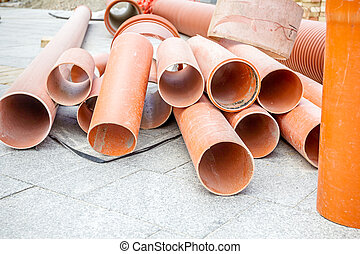 Stack of arranged PVC tubes pipes