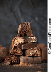 Stack of assorted chocolate candies