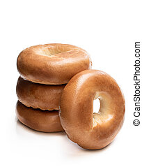 Stack of bagels isolated on white background