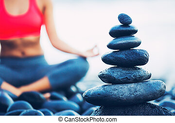 Stack of Ballanced Stones - Stack of Round Smooth Stones on...