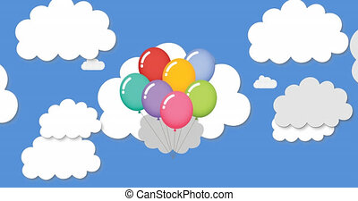 Animation of multiple digital multi coloured balloons icons floating on blue sky with clouds in the background. Global online social media concept digitally generated image.