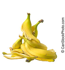 Stack of Banana skin on white background