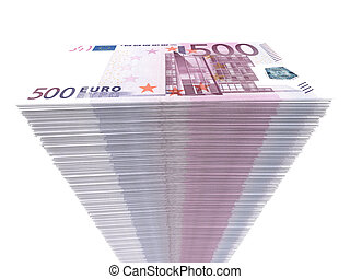 Stack of banknotes. Five hundred euros.