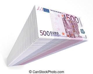 Stack of banknotes. Five hundred euros.