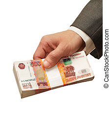 stack of banknotes in a man's hand