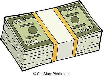 Stack of banknotes on white background vector illustration