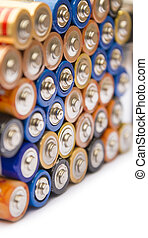 Stack of batteries ready for recycling