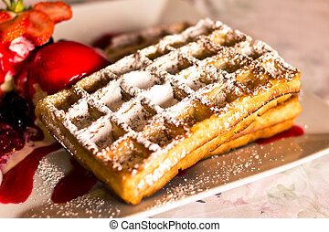 Belgian waffle - Stack of Belgian waffle served with...