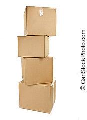 Stack of big cardboard boxes - Stack of four large cardboard...
