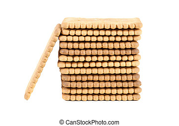 Stack of biscuits on white background