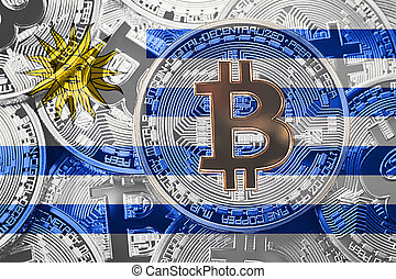 Stack of Bitcoin Uruguay flag. Bitcoin cryptocurrencies concept. BTC background.