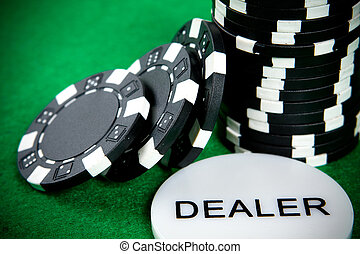 Stack of black poker chips