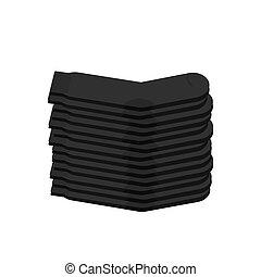 Stack of black socks isolated. Vector illustration
