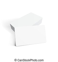 Stack Of Blank Business Card On White Background
