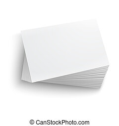 Twisted stack of blank business card on white background with soft shadows. Vector illustration. EPS10.