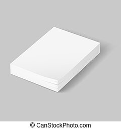 Stack of blank papers. Illustration on grey background