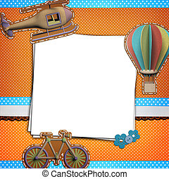 Stack of blank papers on polka dots background