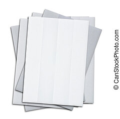 stack of blank white paper isolated on white background