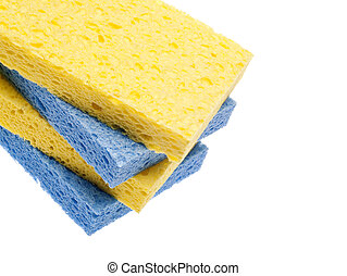 Stack of Blue and Yellow Sponges Border