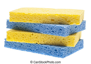 Stack of Blue and Yellow Sponges