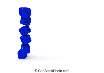 Stack of blue dice