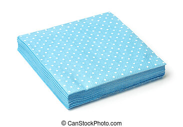 Stack of blue dotted napkins isolated on white