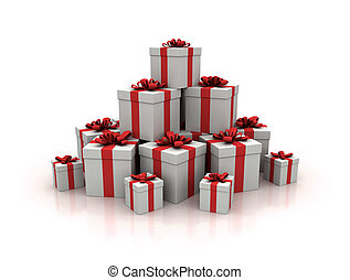 Stack of blue gift boxes 3d render