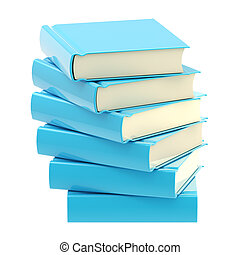 Stack of blue glossy books isolated