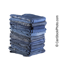 Stack of blue jeans isolated on white background with clipping path