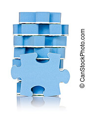 stack of blue puzzle