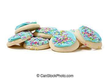 Stack of blue sugar cookies on a white background