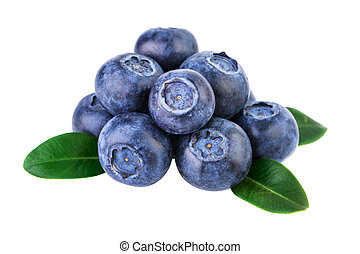 Stack of blueberries isolated on white with clipping path