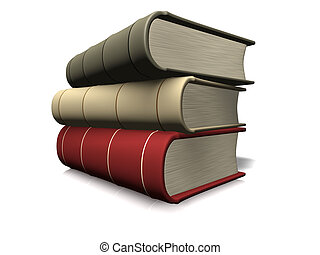 Stack of book - A stack of three books on white background -...