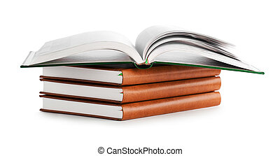 stack of book with opened book