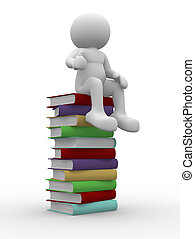 3d man citting on stack of books - This is a 3d render illustration