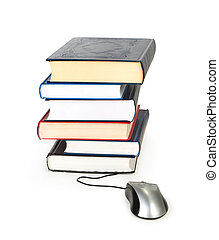 stack of books and computer mouse