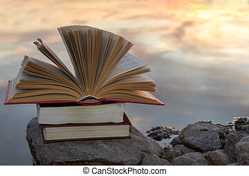 Stack of books and Open hardback book on blurred nature landscape backdrop against sunset sky with light. Copy space, back to school. Education background.