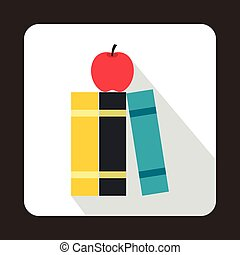 Stack of books and red apple icon, flat style