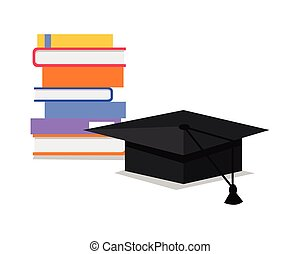 Stack of Books and Square Academic Cap. Vector - Stack of...